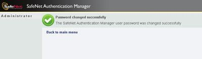 60 Your SafeNet Authentication Manager user password is changed, and the Password changed successfully