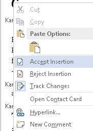 Figure 13 Context menu open in Revisions Pane to accept