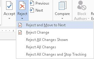 The Changes Group on the Review Ribbon also has buttons to Accept or Reject revisions. The options for accepting changes are Alt + R, A, then: M for Accept all changes and move to next.