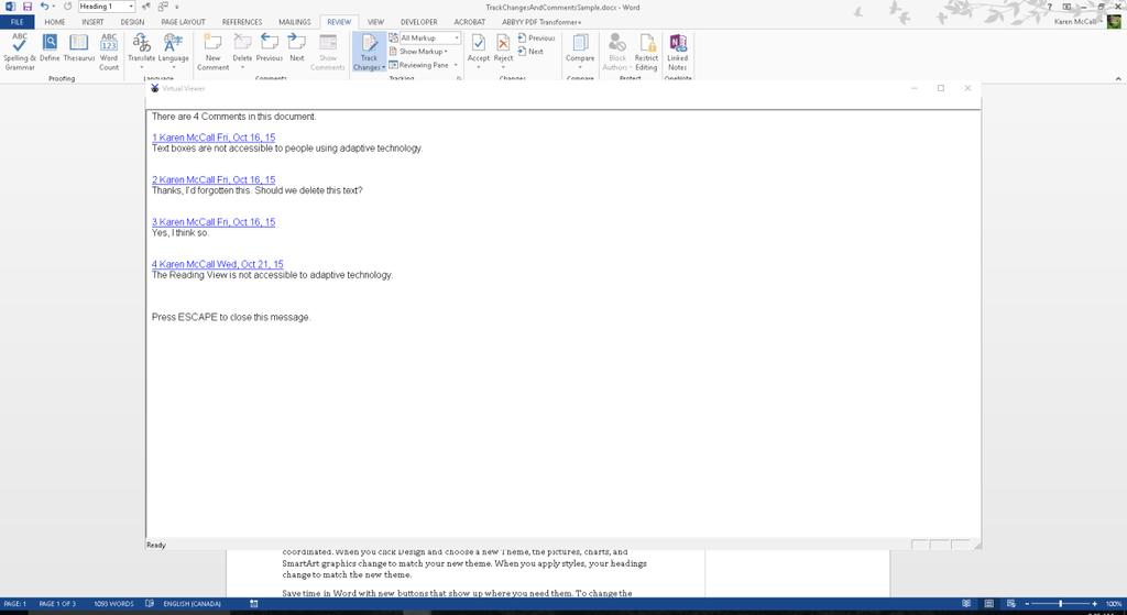 Figure 34 Virtual Viewer in JAWS showing all Comments in document.