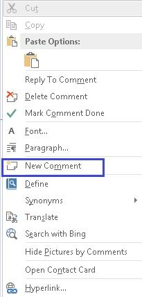 Figure 35 Add New Comment option in Comment context menu.