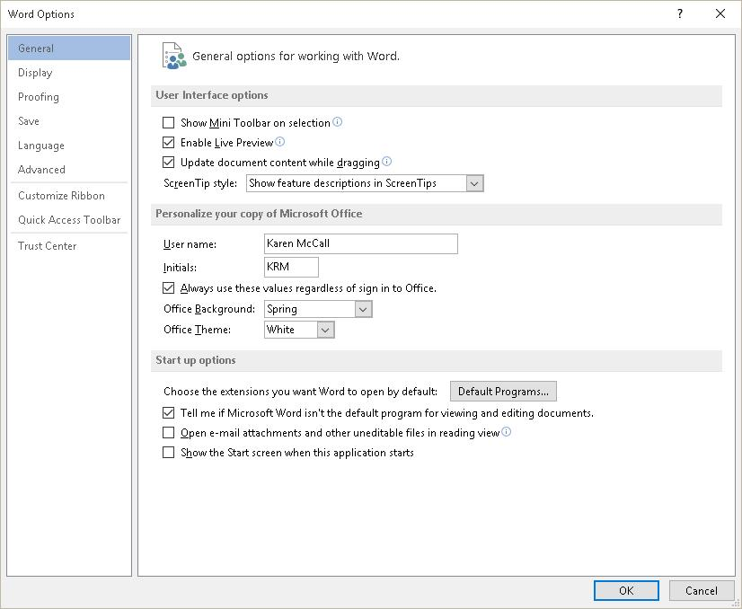 Figure 6 General settings in the Word Options dialog. The Advanced Settings is where you can choose the colours for the various revisions to your documents.