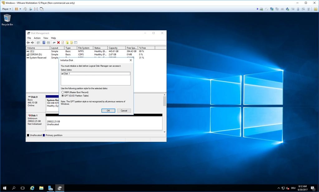 console. The recommended approach is to use the GUID partition table and ReFS.
