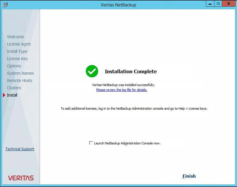 After the installation of the NetBackup media server software is complete, open the