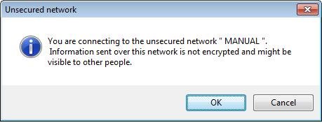 Click OK to add this network into the profile list. Note: This example is an open wireless network.