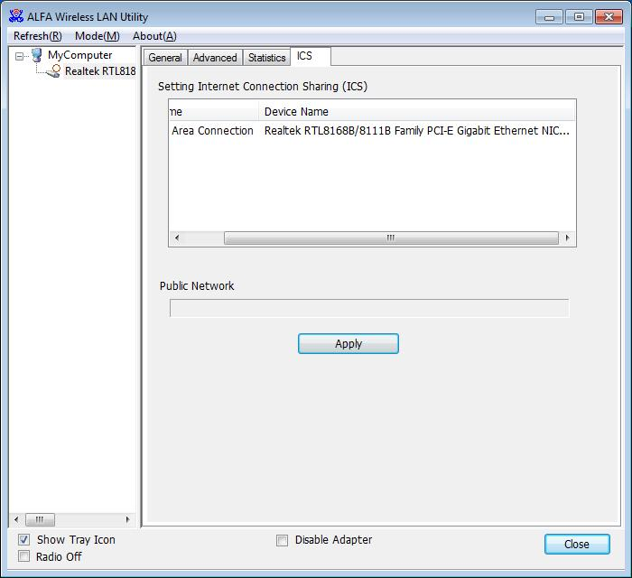 ICS (Internet Connection Sharing) This page allows users to select the adapter to connect to the public