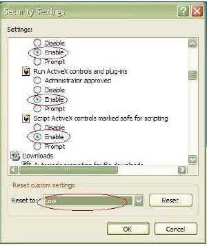 - or - Under Reset Custom Settings, click the security level for the whole zone in the Reset To box, and