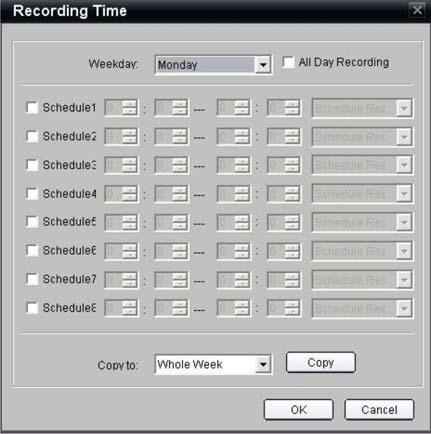 2BChapter 3: Network and streaming configuration To define a recording schedule: 1. In the Channel Parameters folder click the Schedule Recordings subfolder to open its screen.