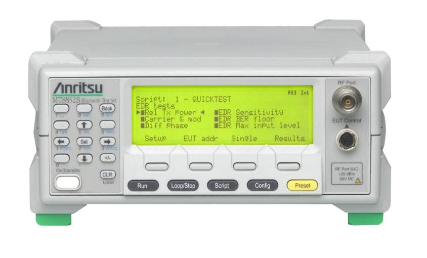 Anritsu MT8852B Option 27 A software option for MT8852B introduced through the Test System Recognition program This option covers the in-band Bluetooth low energy RF