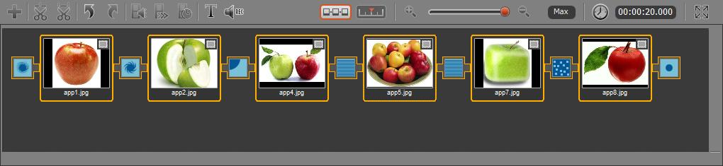 Movavi Video Editor allows you to create a beautiful slideshow from your pictures or append images with fades to the beginning and/or to the end of your movie to make it more dramatic.