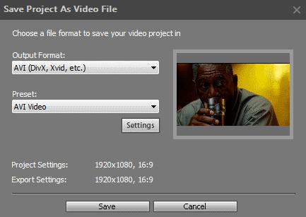 Saving video in a popular video format 1. In the File menu, select the Export Project option, or click the Export button in the Operation Buttons panel. 2. Select the Save as Video File option.