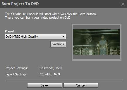 Burning Video to DVD 1. In the File menu, select the Export Project option, or click the Export button in the Operation Buttons panel. 2. Select the Burn to DVD option.