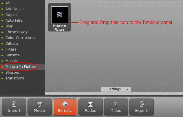 7. Drag and drop the effect icon to the upper video track. 8.