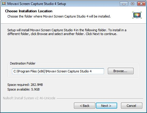 folder to install Movavi Screen Capture Studio to: