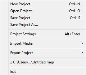 Menu bar The editing process in Movavi Video Editor is organized within a project. The File menu contains options, which allows you to manage the projects.