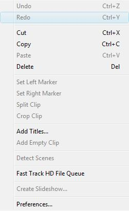 Undo - cancels the last action. Redo - repeats undone action. Cut - cuts a clip selected in the Timeline panel. Copy - copies a clip selected in the Timeline panel.