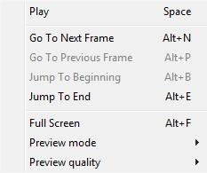 Play/Stop - starts/stops playback of the selected clip. Go to Next Frame - jumps to the next frame. Go to Previous Frame - jumps to the previous frame.