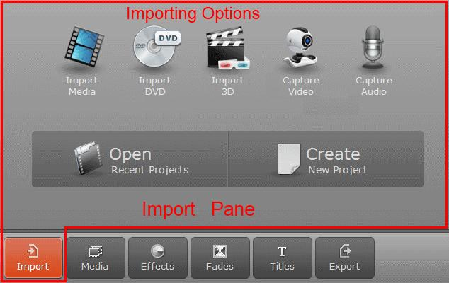 By clicking on the Import button in the Operation Buttons panel, the Import pane will open.