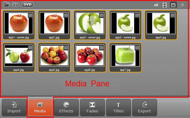By clicking on the Media button in the Operation Buttons panel, the Media pane will open. Here you can find media files imported into Movavi Video Editor.