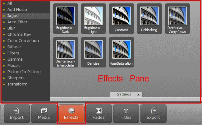 By clicking on the Effects button in the Operation Buttons panel, the Effects pane will open. The Effects pane provides main tools that can be used for editing your video project.