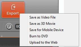 By clicking on the Export button in the Operation Buttons panel, you can choose the method of exporting edited file from Movavi Video Editor: saving output file as video file in the chosen format,