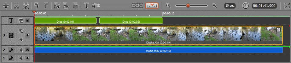 "The Timeline panel is a ""working area"" of the Movavi Video Editor that allows you to edit video file (split, cut), add audio tracks and titles, apply effects, and so on."