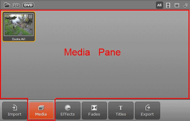 3. Drag the file from the Media pane to the Timeline panel. Now you can start adding effects to your video. 4. Click the Effects button. The list of available effects will open in the Effects pane. 5.