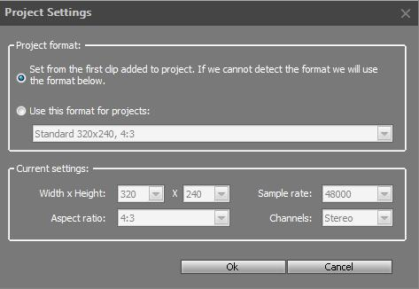 A new project in Movavi Video Editor has the following default settings: width, height and aspect ratio of the video stream, and sample rate and channels for audio stream.
