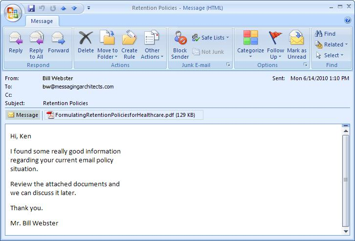 Managing Received Messages Outlook 2007 offers a number of features to improve message management.