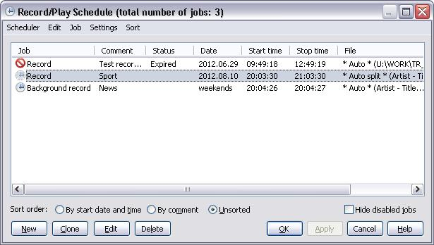 152 TotalRecorder On-line Help Main menu Scheduler submenu Menu Item Import and append jobs... Export selected jobs.