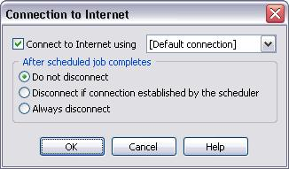 "166 TotalRecorder On-line Help Connect to Internet using - enables or disables connection to your ISP by dial-up line. You must choose a particular ISP from the list or use ""[Default connection]""."