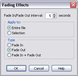 184 TotalRecorder On-line Help Fade In/Fade Out interval: nn seconds.
