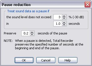 186 TotalRecorder On-line Help Treat sound data as a pause if the sound level does not exceed nn% in x.x seconds. These settings specify which parts of sound data Total Recorder treats as pauses.