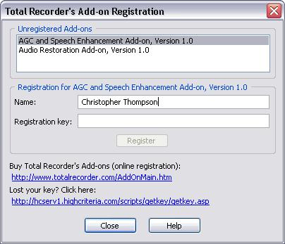 Using Total Recorder 215 5.18.3 Registering add-ons After installing an add-on, it may require registration.