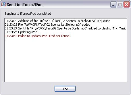 220 TotalRecorder On-line Help Information regarding the sending of files is shown in the Send to itunes/ipod dialog. See also.
