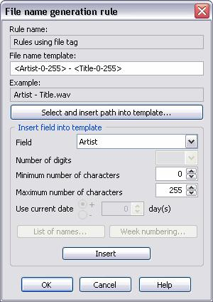 Using Total Recorder 227 Rules similar to file name generation rules are used for defining a template for generating a Run command for post-processing and for a scheduled job.
