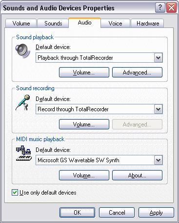 30 TotalRecorder On-line Help Manually through appropriate system settings. The procedure for setting default devices varies amongst operating systems and is described below.