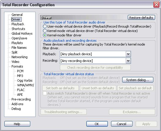 36 3.2.2 TotalRecorder On-line Help Driver Settings The dialog looks like this: Restore defaults Use this button to restore the default settings for this dialog.