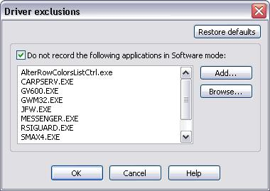 Installation and Configuration 39 interfere with the actual sound you want to record. Press the Exclusions button to open the following dialog. By default, the list of applications is not empty.