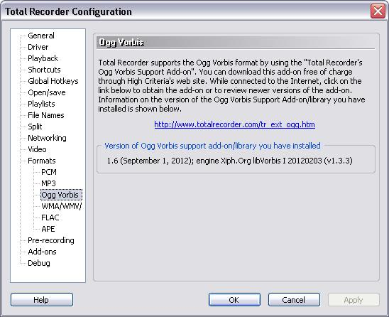 60 TotalRecorder On-line Help The dialog displays the version of the Ogg Vorbis Support Add-on or the Ogg Vorbis support library (vorbishc.dll) that is currently installed.