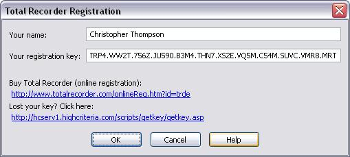 68 TotalRecorder On-line Help See also. How to restore a lost registration key, Registering add-ons. 3.