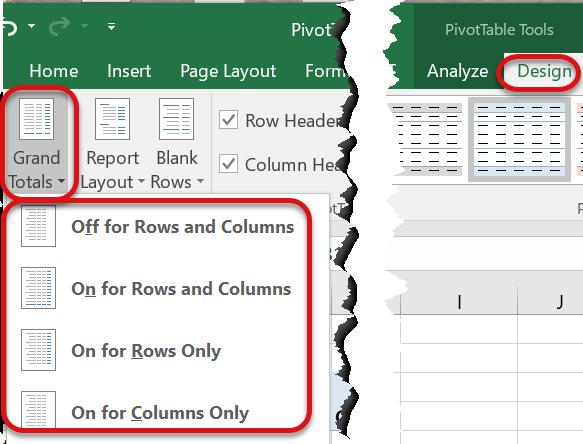 To turn off the subtotal option for a group, or to change the location of the subtotals, navigate to the PivotTable Design tab, click on the