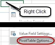 Blank Cells Blank cells may cause problems within a PivotTable if the data ends up being a row or column heading.