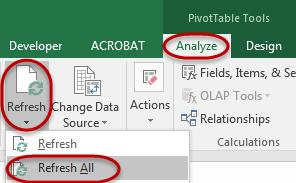 Tip: PivotTable options may be selected by navigating to the PivotTable Tools Analyze tab and then select PivotTable options on the left side of the ribbon.