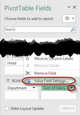 Change the Value Settings By default, Excel sets the Value of sum to a field added in the Values area of a PivotTable.