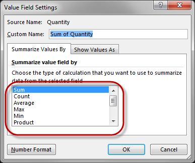 On the PivotTable Fields area, click on the drop-down menu on a field that is currently in the Values section and then select the