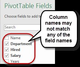 This can be done on any field name within a PivotTable (column headings from the original data), but the columns cannot have the same name as a PivotTable