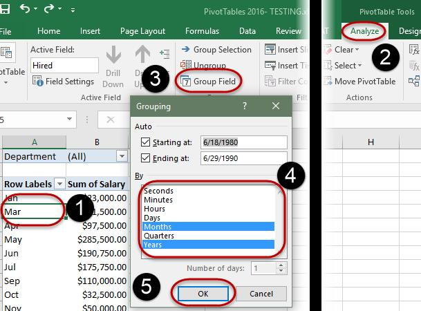 Group Data by date/time PivotTables have the ability to Group