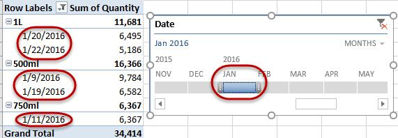 Navigate to the PivotTable Analyze Tab, and then click on the Insert Timeline icon.