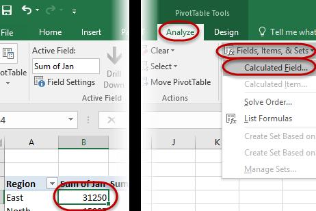 The calculated field must reside in the data area. The formulas used are stored in a dialog box and stored within the PivotTable data.